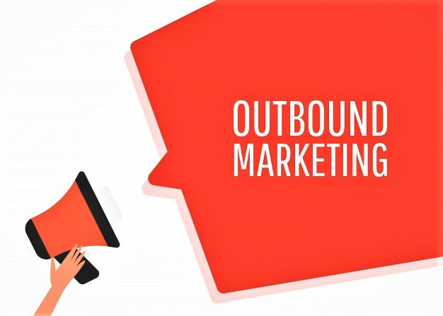 "A red megaphone with a cloud that says ""Outbound marketing"""