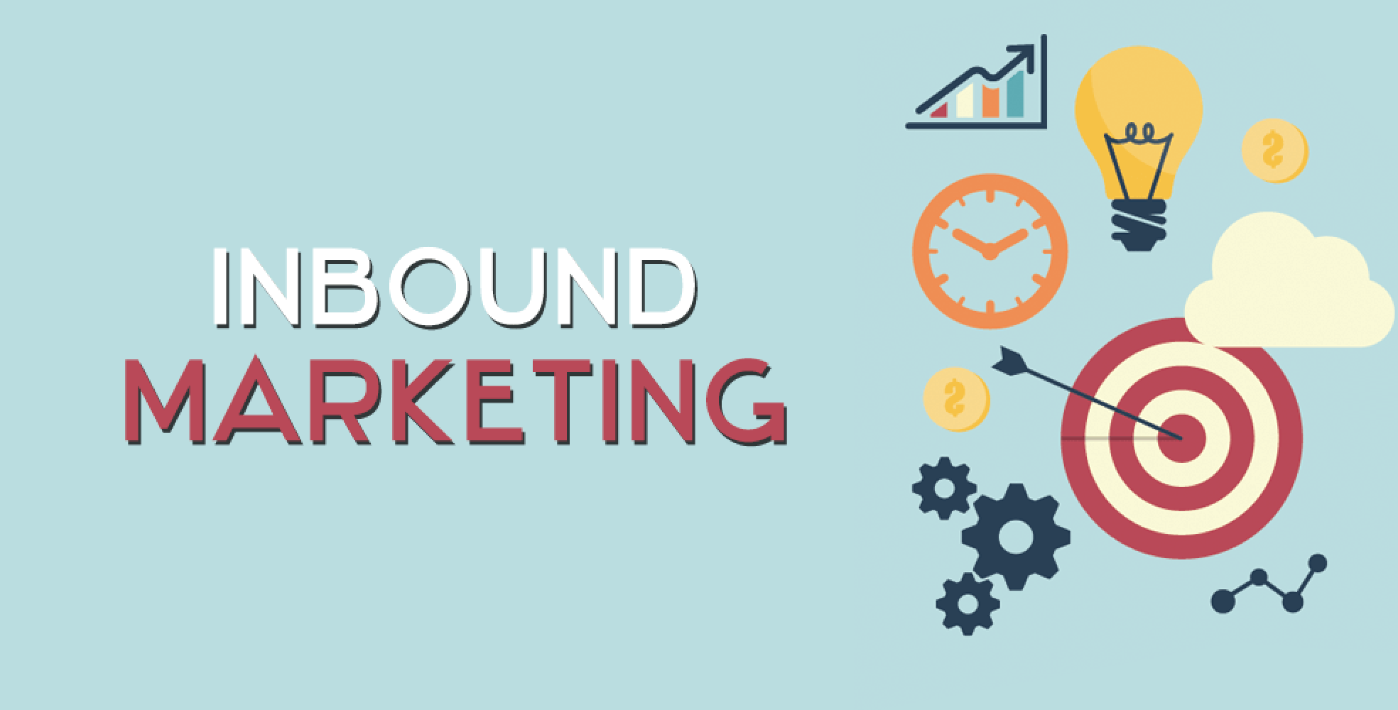 Inscription: Inbound Marketing on a blue background
