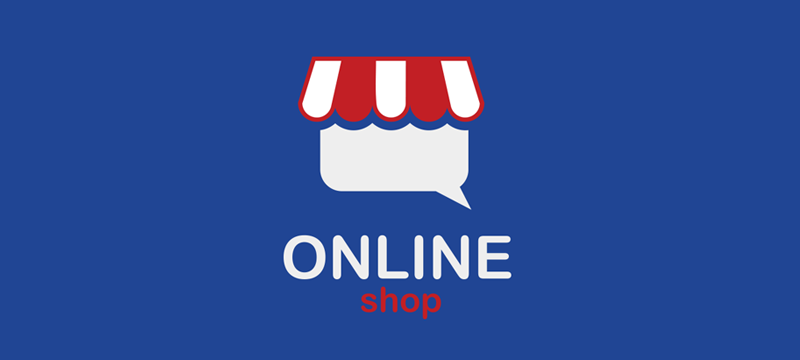 "The inscription ""Online Shop"" on a blue background"