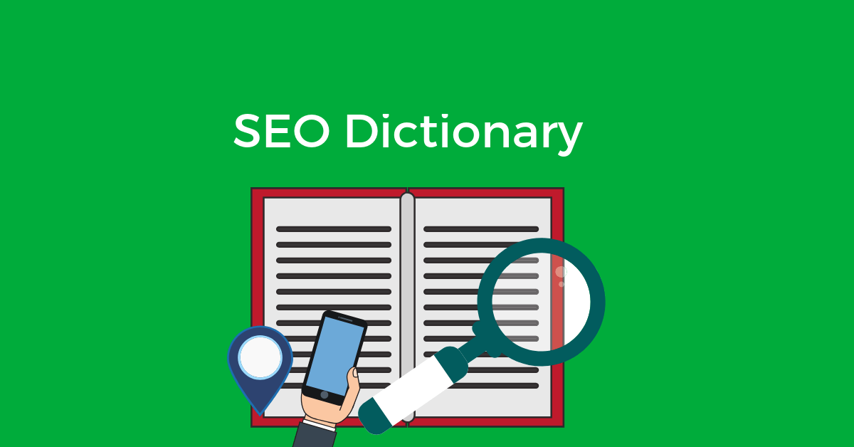 "A dictionary on a green background and the words ""SEO Dictionary"""