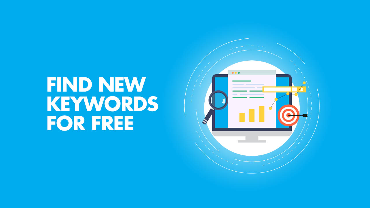 Inscription: Find new keywords for free on a blue background
