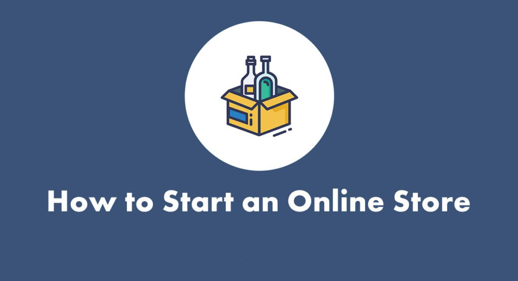 "A cardboard box with purchases and the words ""How to start an online store"""