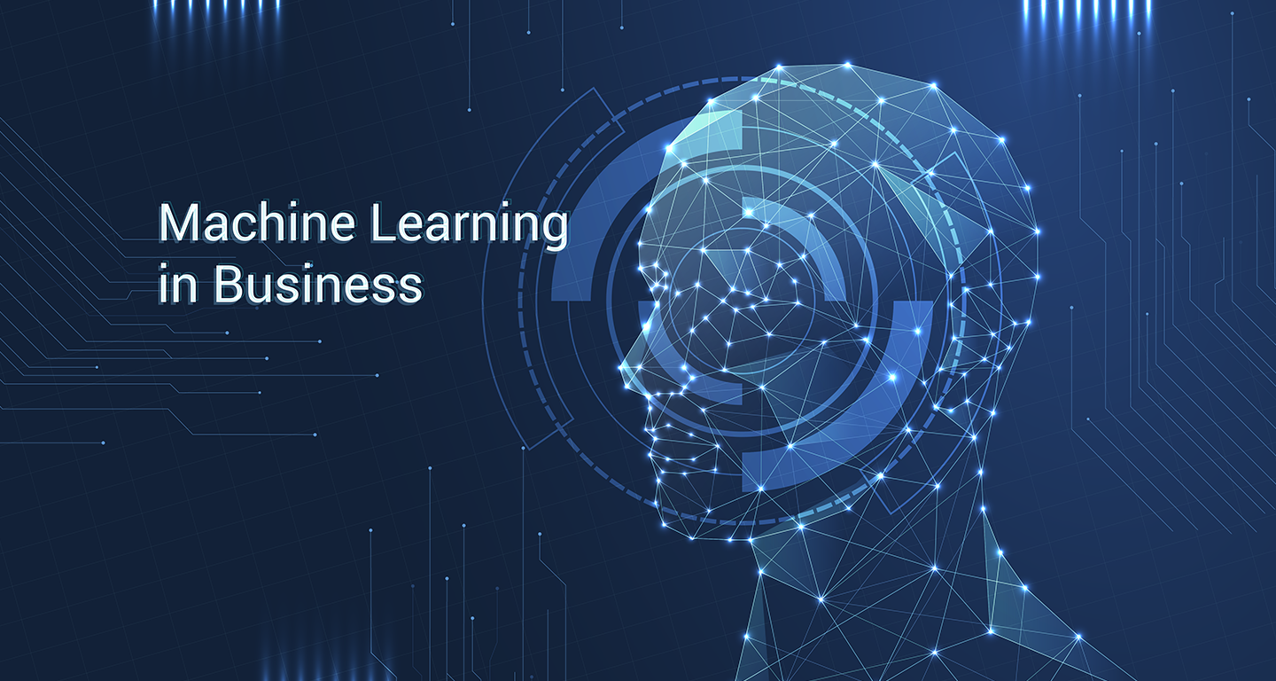 "Human head and the inscription ""Machine learning in business"""