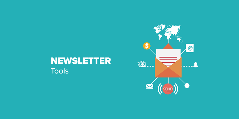 "The inscription ""Newsletter Tools"" on a blue background and an image of the envelope against the world"