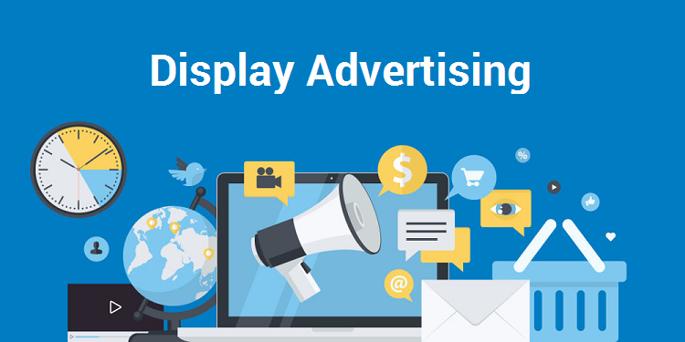 Inscription: Display advertising on a blue background