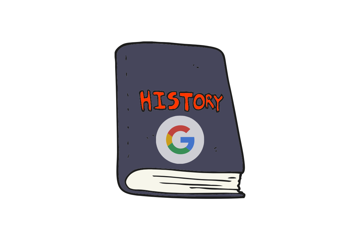 """A book with the word """"History"""" and a Google sign"""