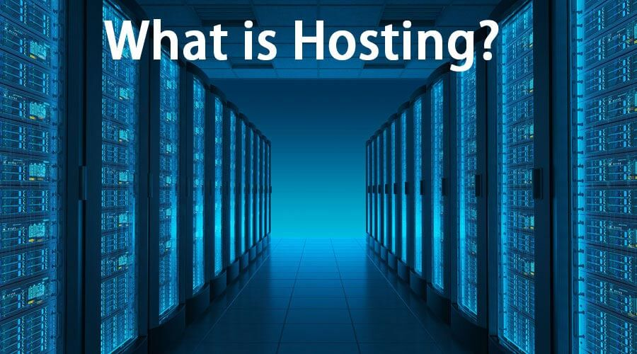 """What is hosting?"" against the background of the server room"