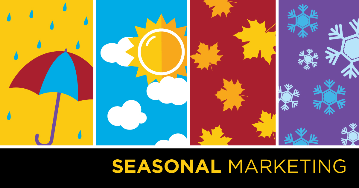 Image showing the four seasons and the words Seasonal Marketing