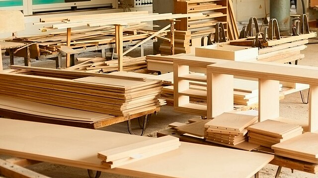 Pieces of wood necessary for the production of furniture