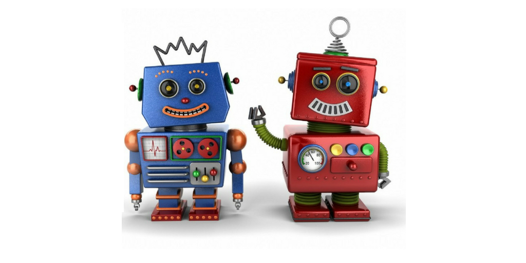 Two smiling chatbots, one blue and one red