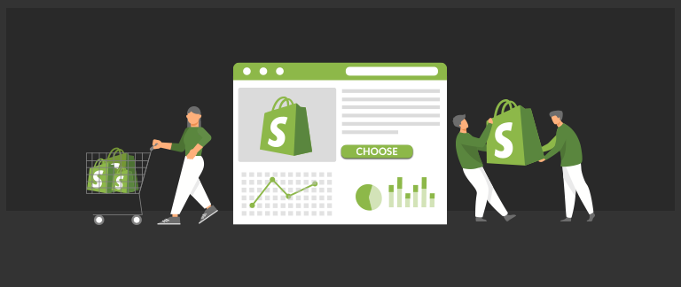 Graphics showing the online store