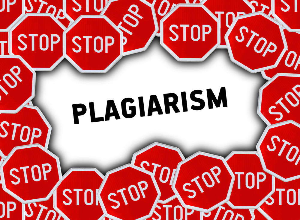 """The inscription """"plagiarism"""" and lots of Stop signs"""