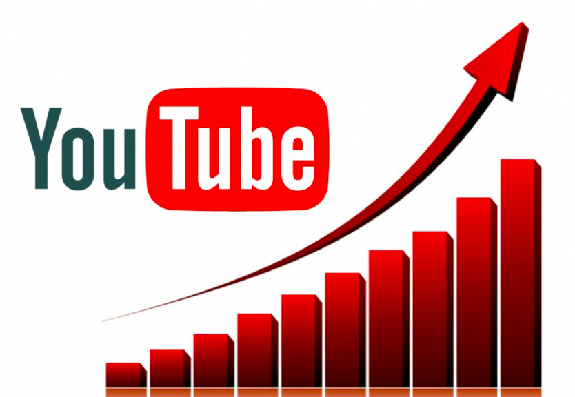 YouTube logo and growth chart